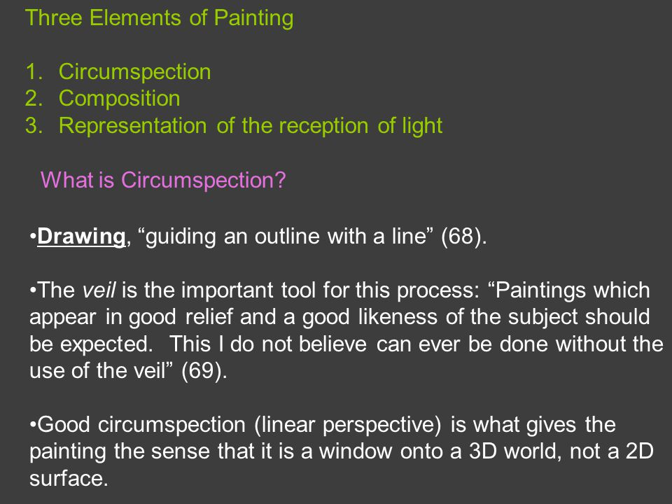 Three Elements of Painting 1.Circumspection 2.Composition 3.Representation of the reception of light Drawing, guiding an outline with a line (68).