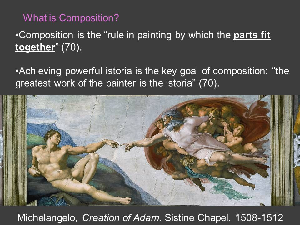 What is Composition. Composition is the rule in painting by which the parts fit together (70).