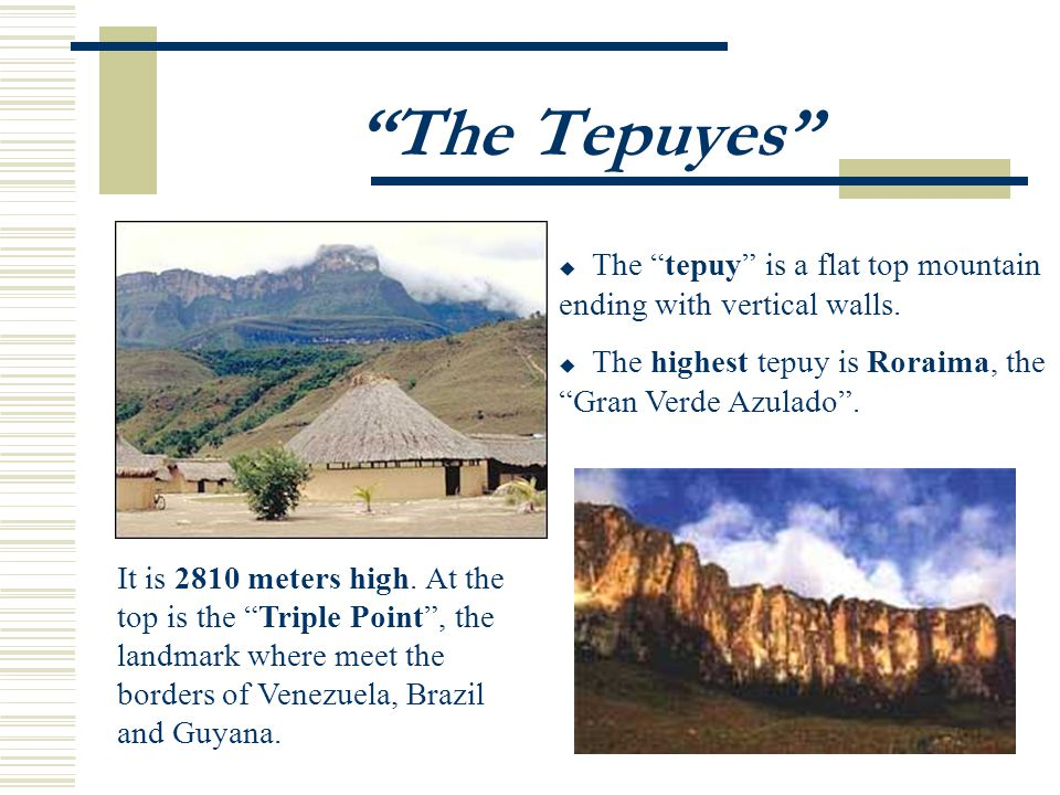 The Tepuyes The tepuy is a flat top mountain ending with vertical walls.