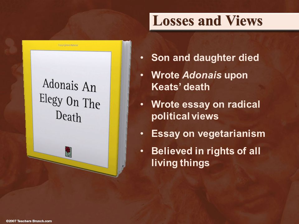 Losses and Views Son and daughter died Wrote Adonais upon Keats death Wrote essay on radical political views Essay on vegetarianism Believed in rights of all living things