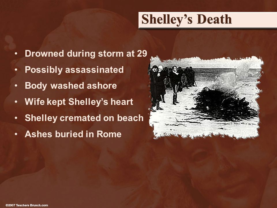 Shelleys Death Drowned during storm at 29 Possibly assassinated Body washed ashore Wife kept Shelleys heart Shelley cremated on beach Ashes buried in Rome