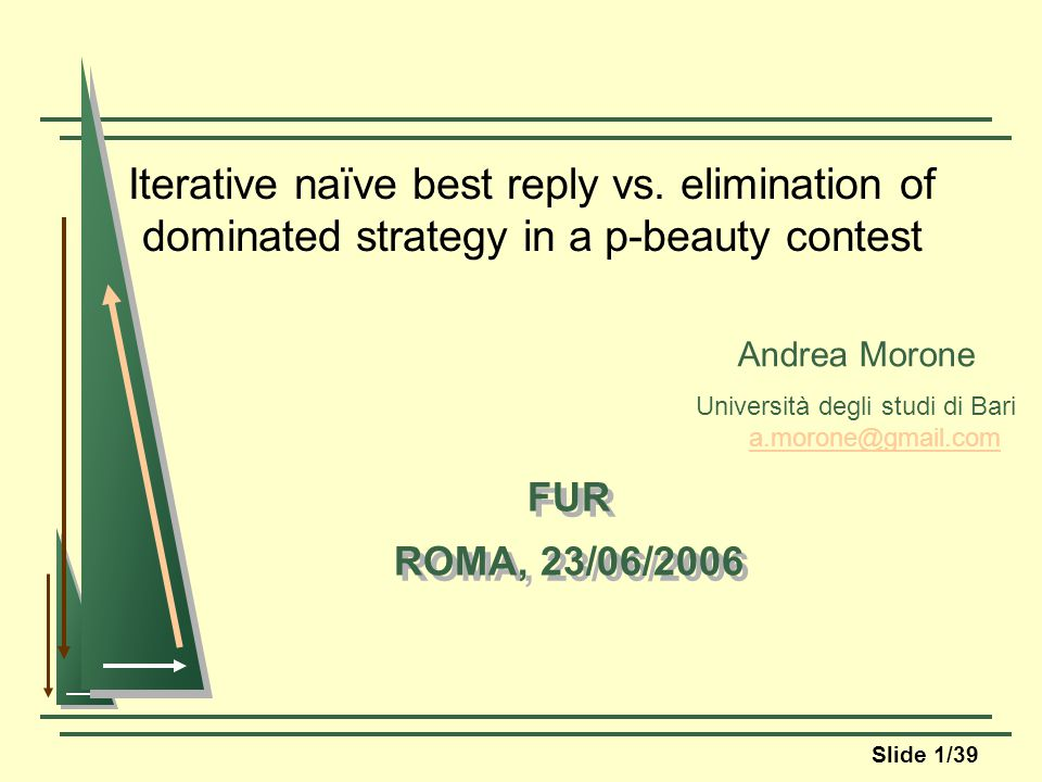 Slide 1/39 Iterative naïve best reply vs.