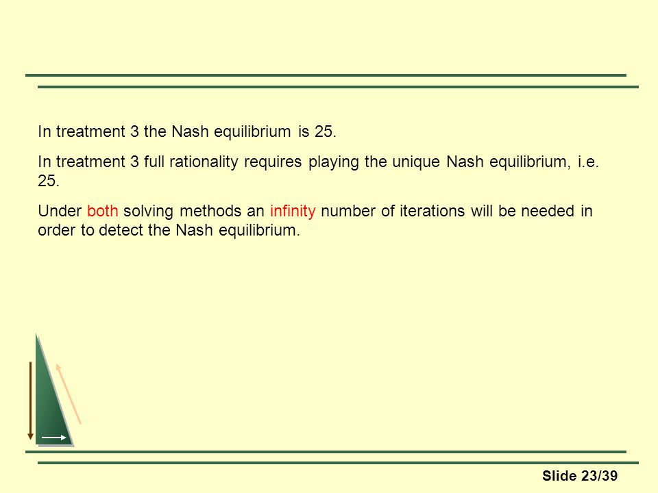 Slide 23/39 In treatment 3 the Nash equilibrium is 25.
