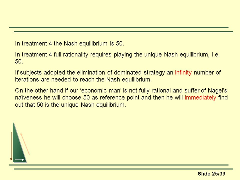 Slide 25/39 In treatment 4 the Nash equilibrium is 50.