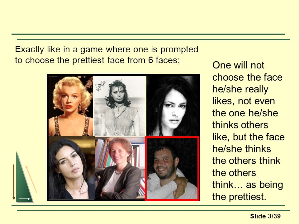 Slide 3/39 Exactly like in a game where one is prompted to choose the prettiest face from 6 faces; One will not choose the face he/she really likes, not even the one he/she thinks others like, but the face he/she thinks the others think the others think… as being the prettiest.