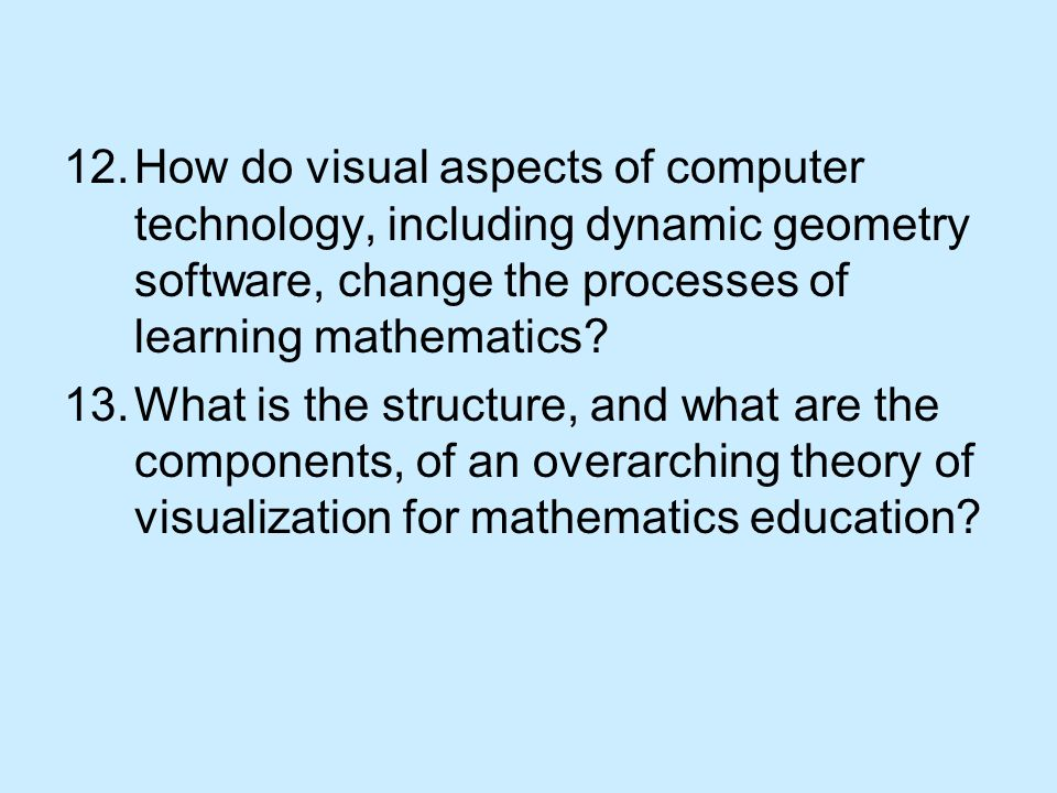 12.How do visual aspects of computer technology, including dynamic geometry software, change the processes of learning mathematics.
