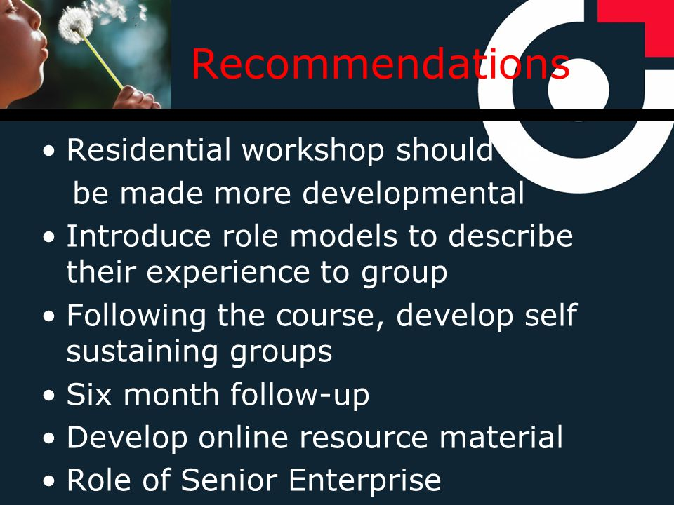 Recommendations Residential workshop should be be made more developmental Introduce role models to describe their experience to group Following the course, develop self sustaining groups Six month follow-up Develop online resource material Role of Senior Enterprise