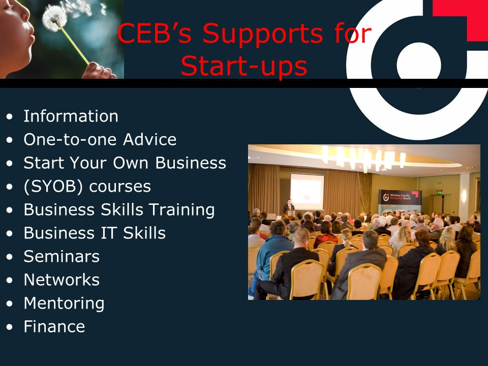 CEBs Supports for Start-ups Information One-to-one Advice Start Your Own Business (SYOB) courses Business Skills Training Business IT Skills Seminars Networks Mentoring Finance