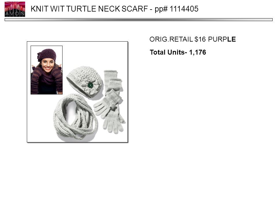 KNIT WIT TURTLE NECK SCARF - pp# 1114405 ORIG.RETAIL $16 PURPLE Total Units- 1,176
