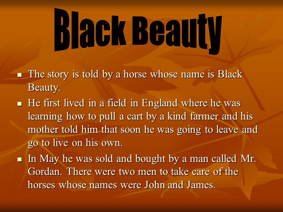 The story is told by a horse whose name is Black Beauty.