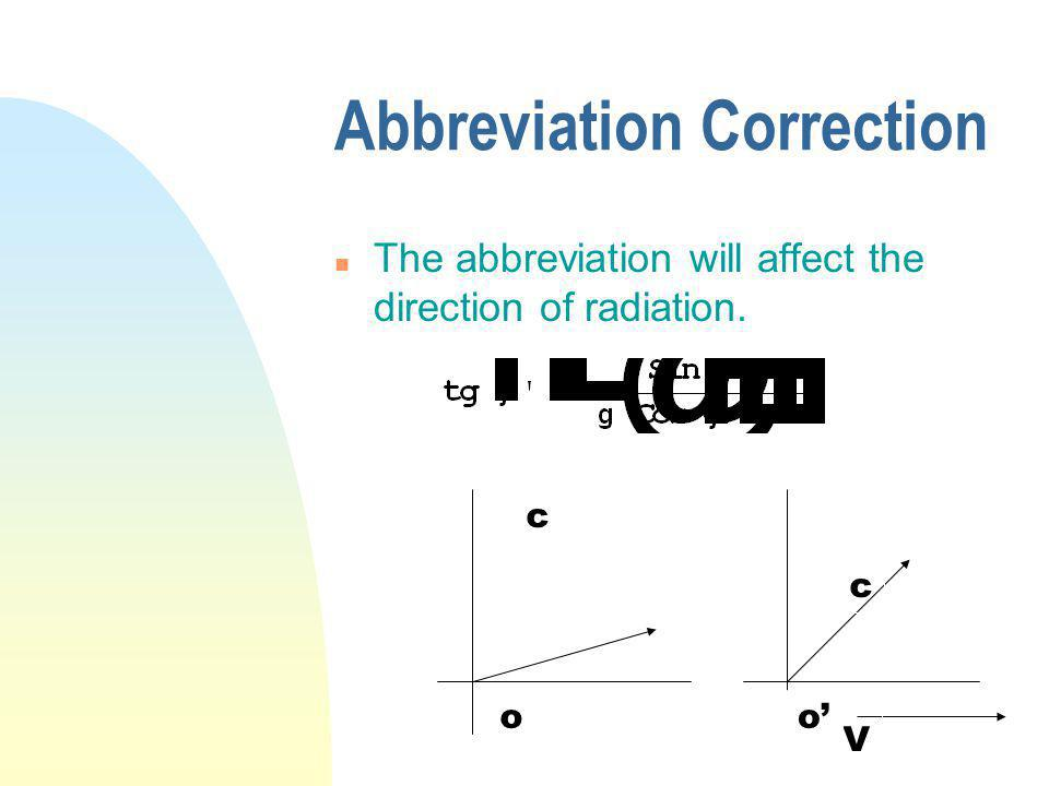 Abbreviation Correction n The abbreviation will affect the direction of radiation. V c c oo