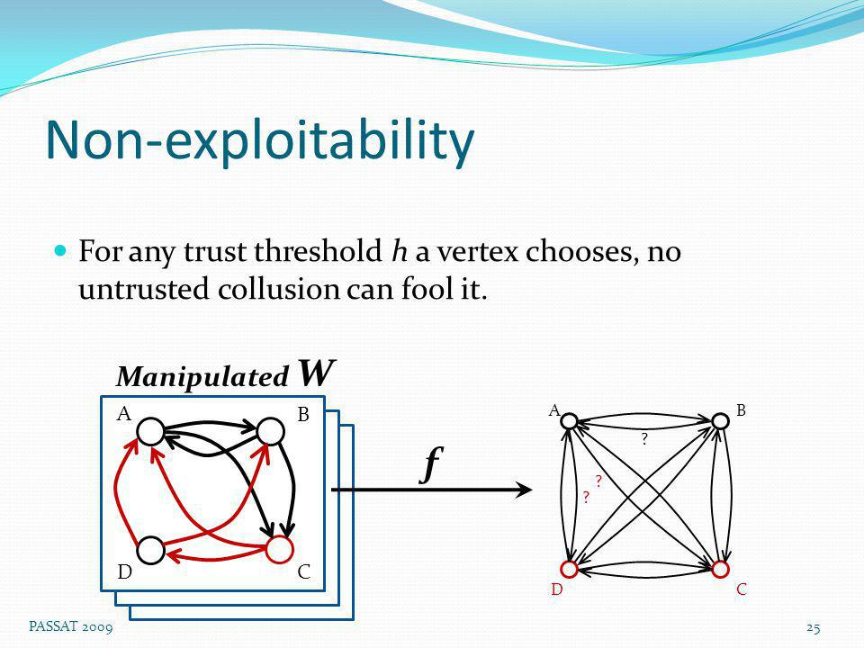 Non-exploitability For any trust threshold h a vertex chooses, no untrusted collusion can fool it.