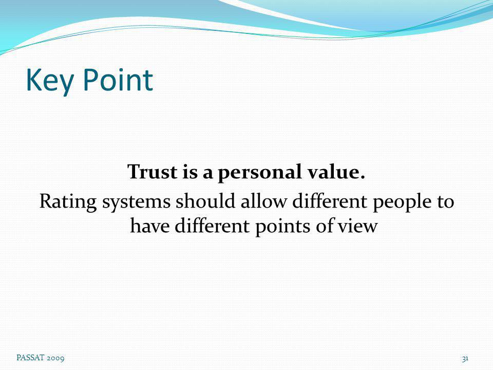 Key Point Trust is a personal value.