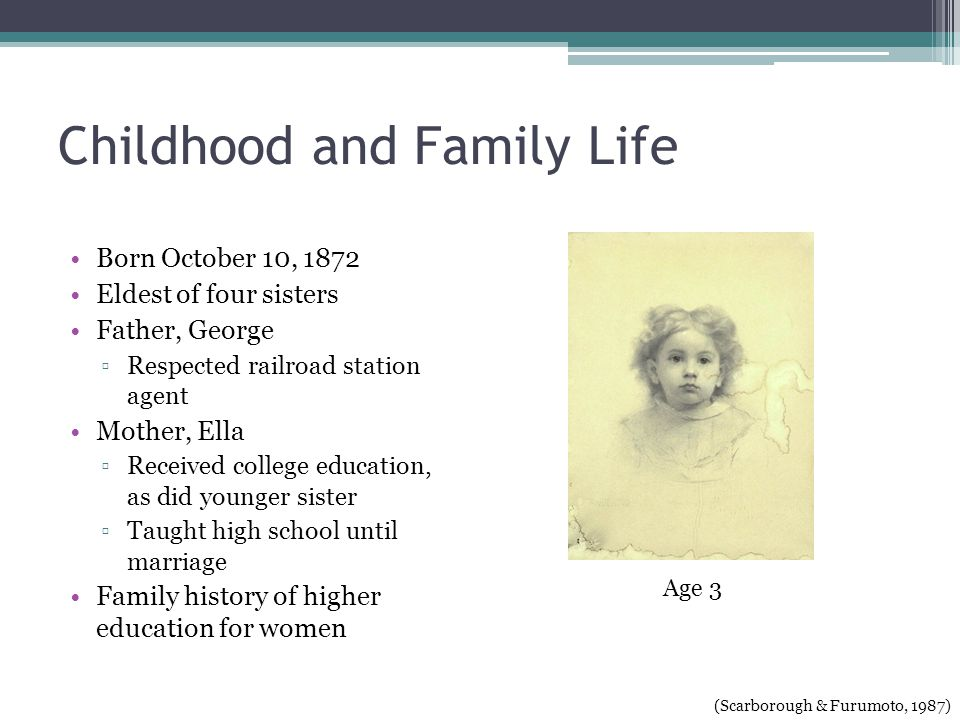 Childhood and Family Life Born October 10, 1872 Eldest of four sisters Father, George Respected railroad station agent Mother, Ella Received college education, as did younger sister Taught high school until marriage Family history of higher education for women (Scarborough & Furumoto, 1987) Age 3