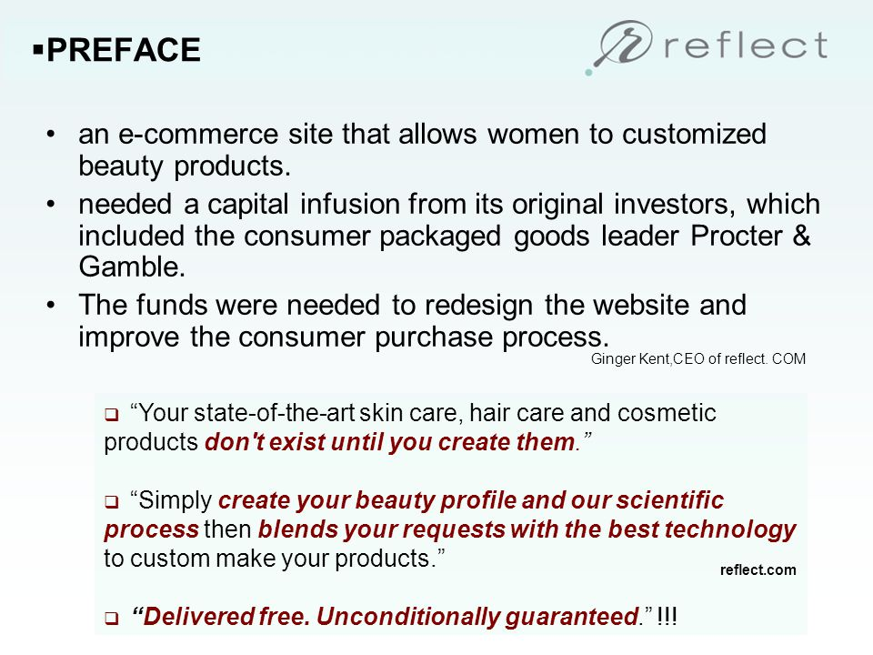 an e-commerce site that allows women to customized beauty products.