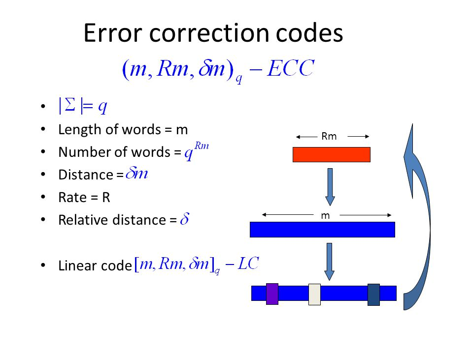 Error correction codes Length of words = m Number of words = Distance = Rate = R Relative distance = Linear code Rm m