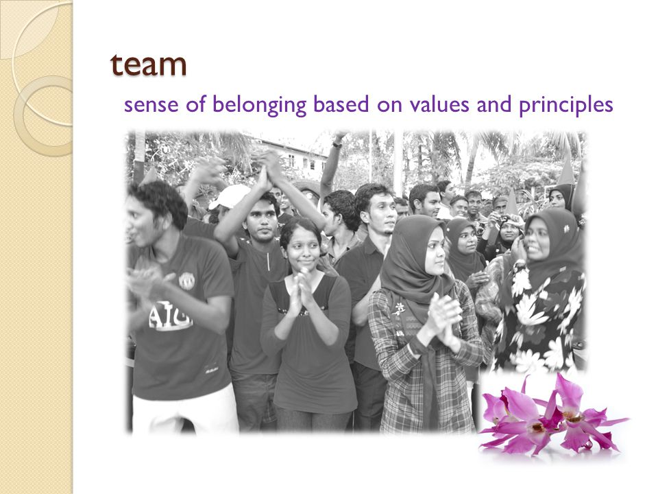 team sense of belonging based on values and principles