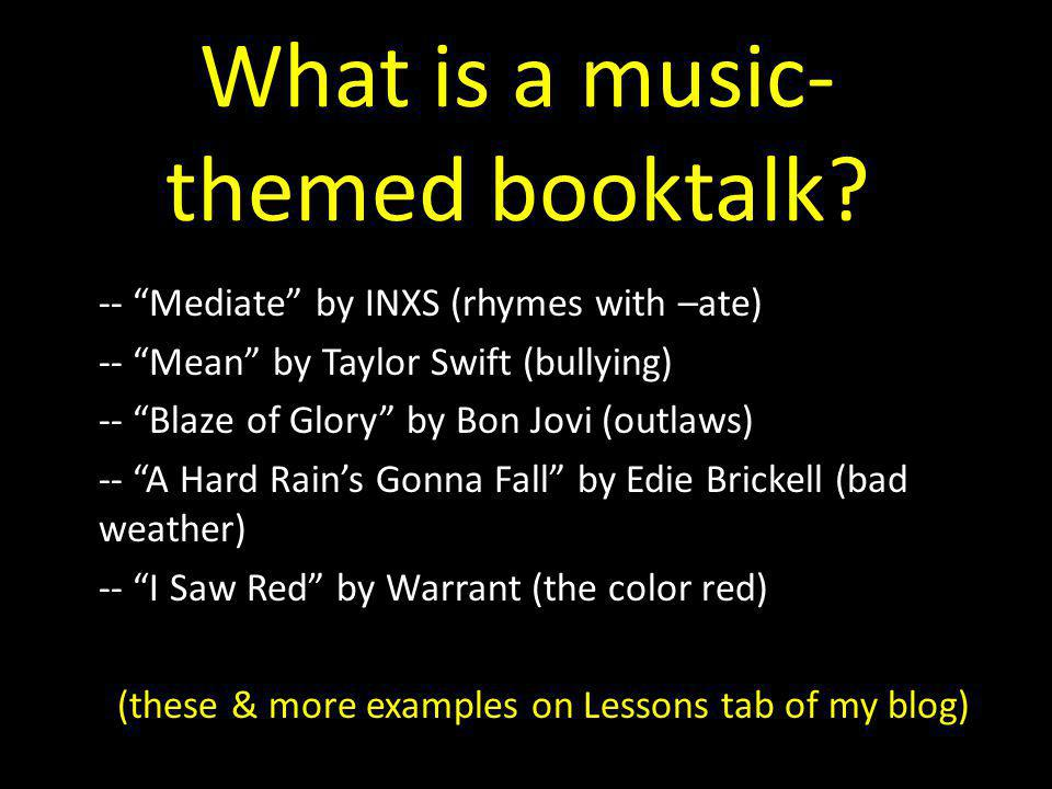 What is a music- themed booktalk.
