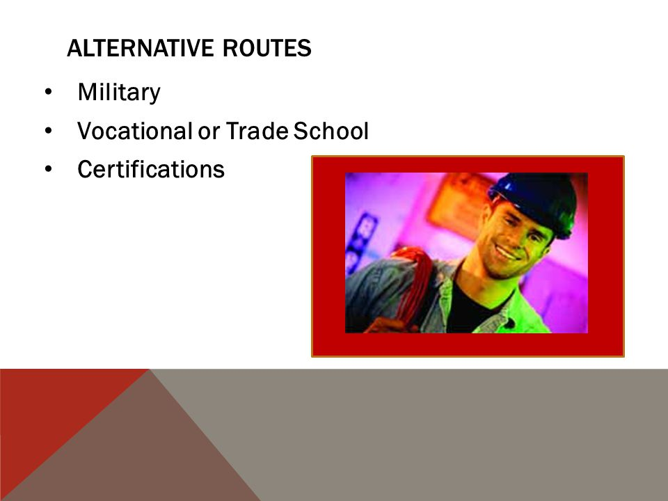 ALTERNATIVE ROUTES Military Vocational or Trade School Certifications