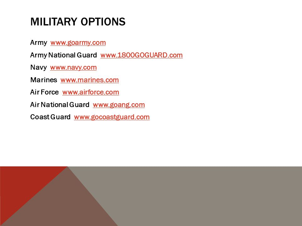 MILITARY OPTIONS Army www.goarmy.comwww.goarmy.com Army National Guard www.1800GOGUARD.comwww.1800GOGUARD.com Navy www.navy.comwww.navy.com Marines www.marines.comwww.marines.com Air Force www.airforce.comwww.airforce.com Air National Guard www.goang.comwww.goang.com Coast Guard www.gocoastguard.comwww.gocoastguard.com