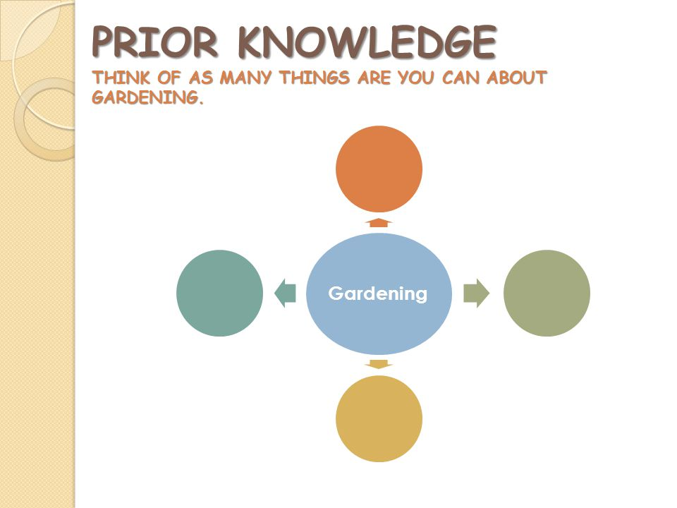 PRIOR KNOWLEDGE THINK OF AS MANY THINGS ARE YOU CAN ABOUT GARDENING. Gardening