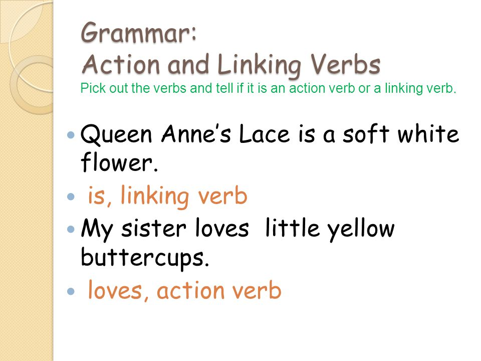 Grammar: Action and Linking Verbs.