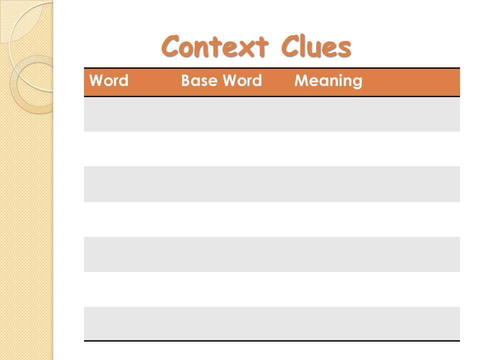 Context Clues WordBase WordMeaning