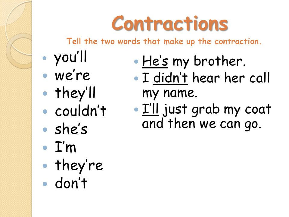 Contractions Contractions Tell the two words that make up the contraction.
