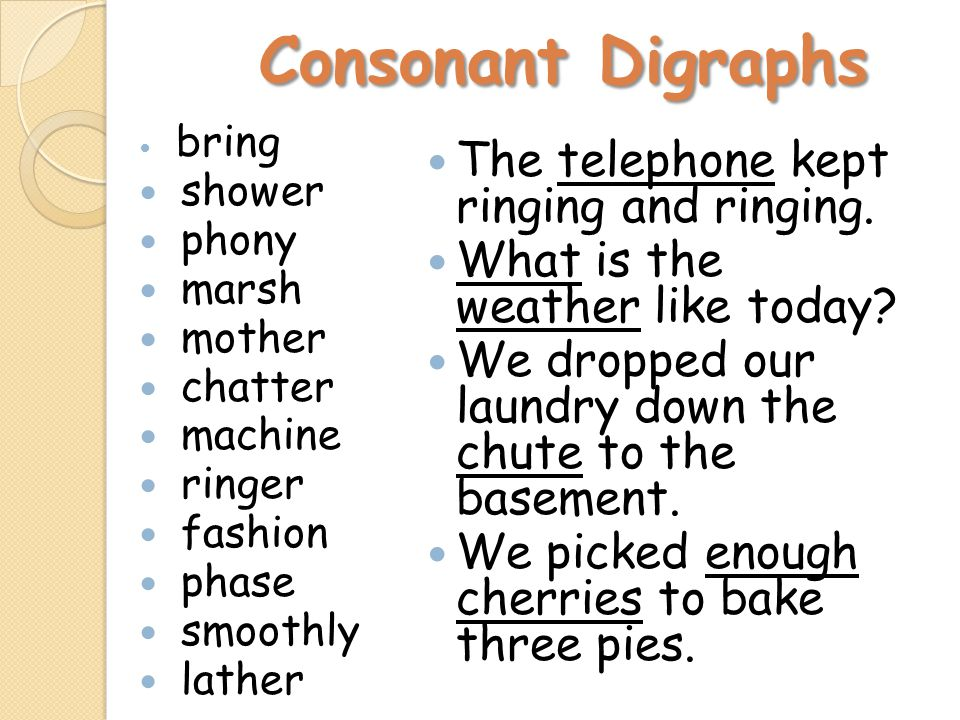 Consonant Digraphs Consonant Digraphs bring shower phony marsh mother chatter machine ringer fashion phase smoothly lather The telephone kept ringing and ringing.