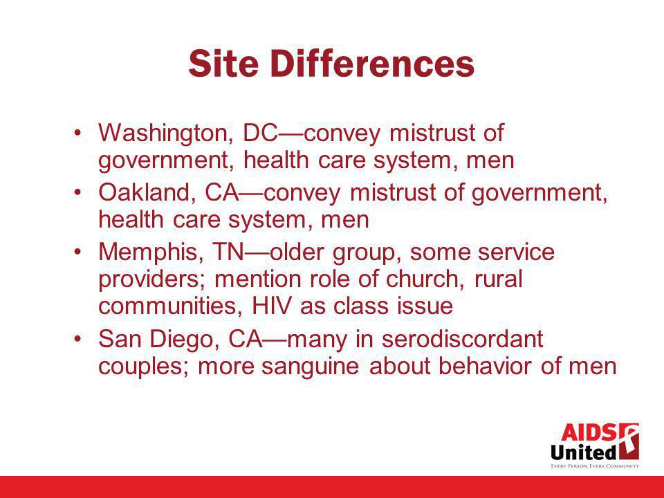 Site Differences Washington, DCconvey mistrust of government, health care system, men Oakland, CAconvey mistrust of government, health care system, men Memphis, TNolder group, some service providers; mention role of church, rural communities, HIV as class issue San Diego, CAmany in serodiscordant couples; more sanguine about behavior of men