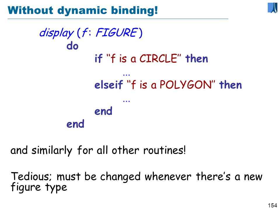 153 Definitions (Dynamic binding) Dynamic binding (a semantic rule) is the property that any execution of a feature call will use the version of the feature best adapted to the type of the target object.