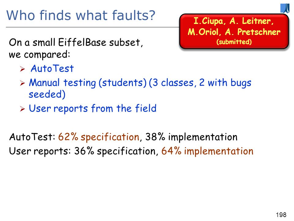 197 Fault categories Specification faults -- examples: Precondition: Missing non-voidness precondition (will go away) Missing min-max precondition Too strong precondition Postcondition: Missing Wrong Implementation faults -- examples: Faulty supplier Missing implementation Case not treated Violating a routines precondition Infinite loop