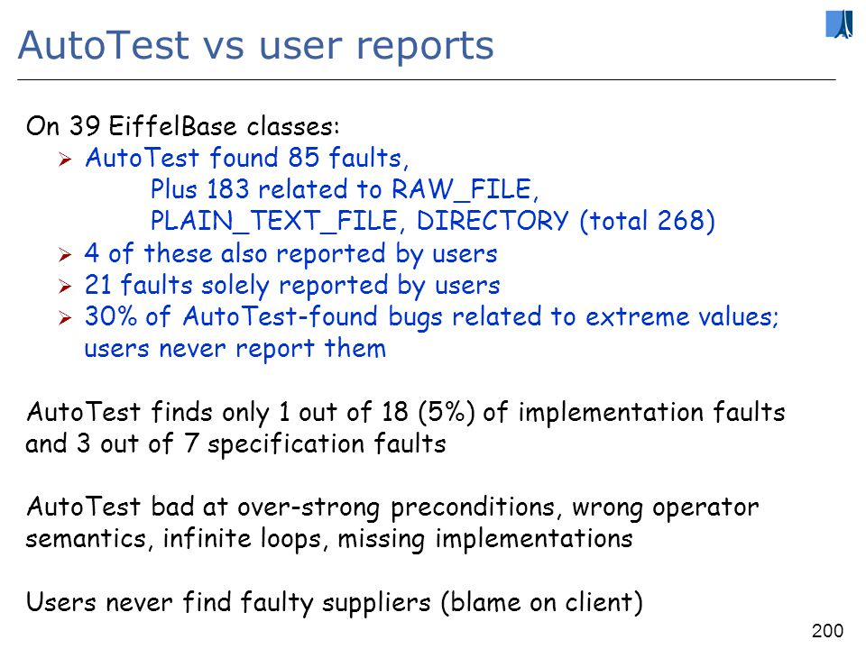 199 AutoTest vs manual testers On three classes (two with seeded bugs): Humans found 14 faults, AutoTest 9 of them AutoTest found 2 faults that humans did not (in large class) 3 faults not found by AutoTest found by 60% of humans (one is infinite loop) 2 faults not found by AutoTest are missing preconditions (void, min-max)