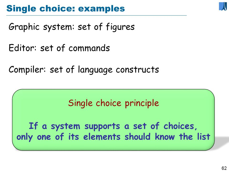 61 Beyond information hiding Single choice principle If a system supports a set of choices, only one of its elements should know the list