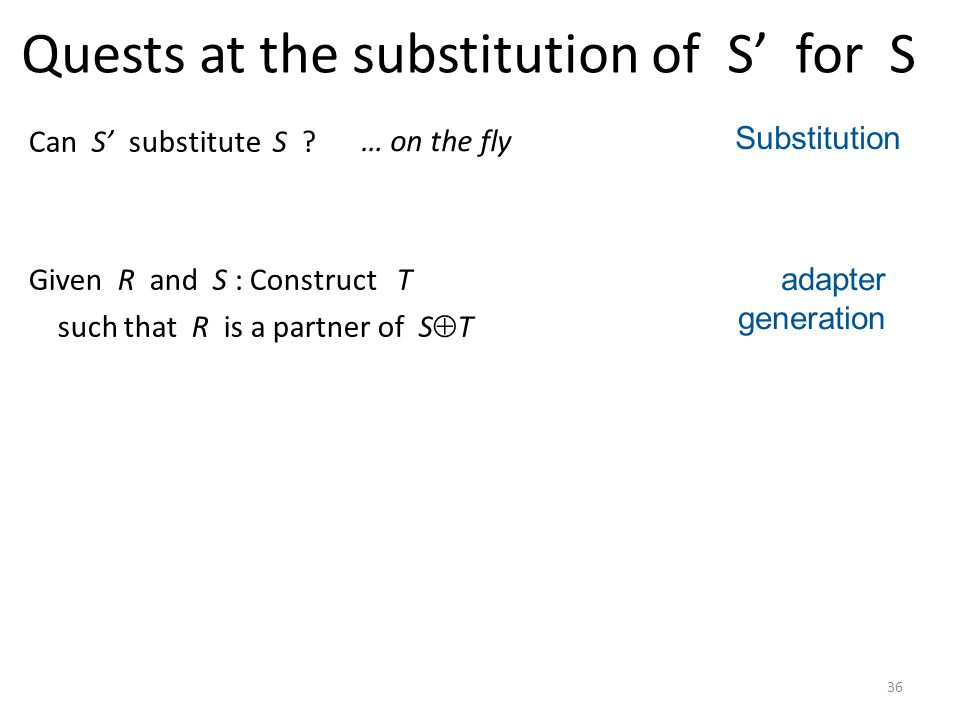 36 Quests at the substitution of S for S Can S substitute S .