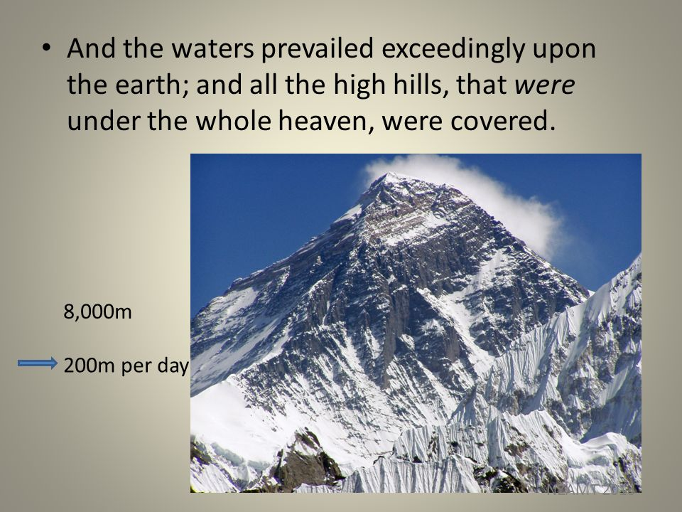 And the waters prevailed exceedingly upon the earth; and all the high hills, that were under the whole heaven, were covered.