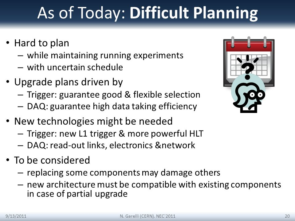 As of Today: Difficult Planning Hard to plan – while maintaining running experiments – with uncertain schedule Upgrade plans driven by – Trigger: guarantee good & flexible selection – DAQ: guarantee high data taking efficiency New technologies might be needed – Trigger: new L1 trigger & more powerful HLT – DAQ: read-out links, electronics &network To be considered – replacing some components may damage others – new architecture must be compatible with existing components in case of partial upgrade 9/13/2011N.