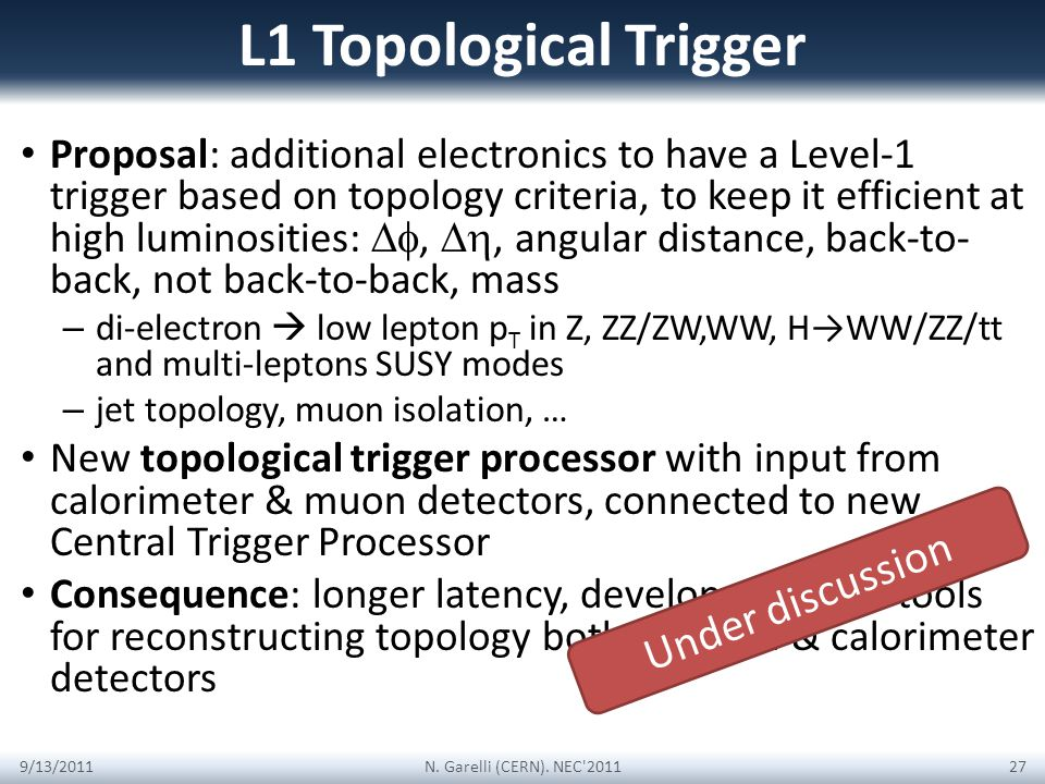 L1 Topological Trigger Proposal: additional electronics to have a Level-1 trigger based on topology criteria, to keep it efficient at high luminosities:,, angular distance, back-to- back, not back-to-back, mass – di-electron low lepton p T in Z, ZZ/ZW,WW, HWW/ZZ/tt and multi-leptons SUSY modes – jet topology, muon isolation, … New topological trigger processor with input from calorimeter & muon detectors, connected to new Central Trigger Processor Consequence: longer latency, develop common tools for reconstructing topology both in muon & calorimeter detectors 9/13/2011N.