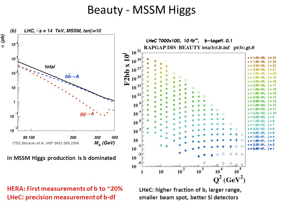 Beauty - MSSM Higgs In MSSM Higgs production is b dominated HERA: First measurements of b to ~20% LHeC: precision measurement of b-df CTEQ Belyayev et al.