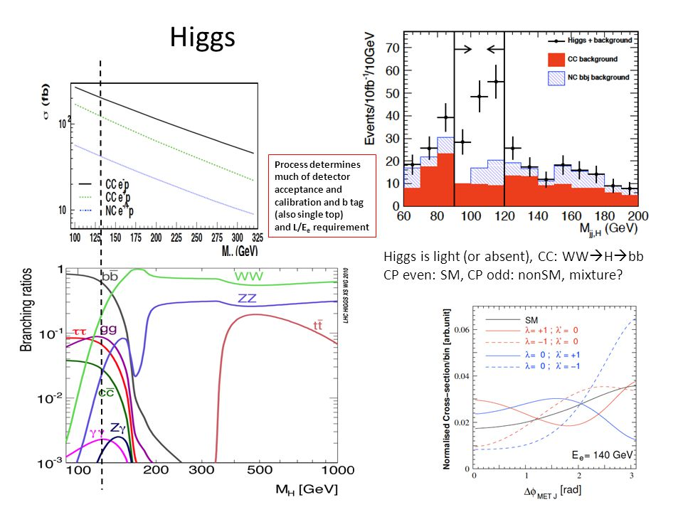 Higgs Higgs is light (or absent), CC: WW H bb CP even: SM, CP odd: nonSM, mixture.