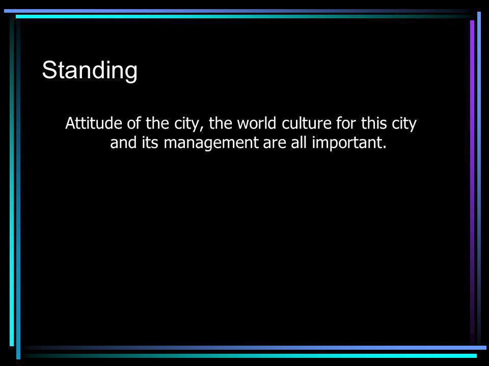 Standing Attitude of the city, the world culture for this city and its management are all important.