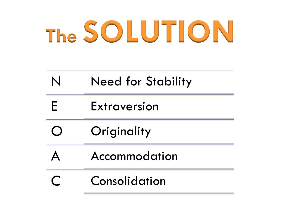 N Need for Stability E Extraversion O Originality A Accommodation C Consolidation
