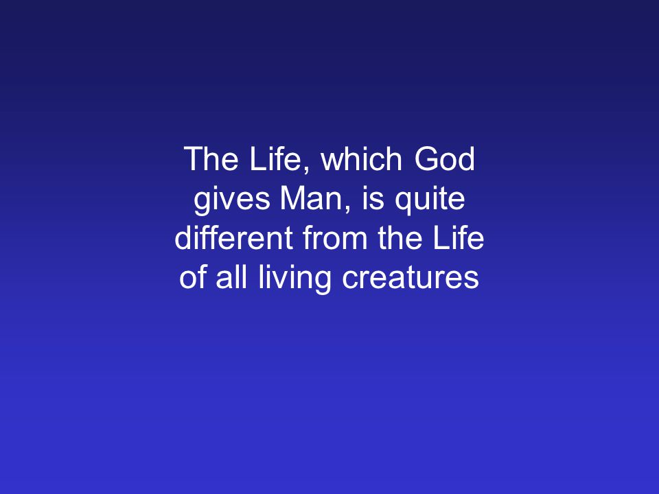 The Life, which God gives Man, is quite different from the Life of all living creatures