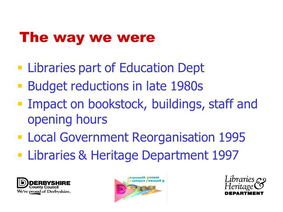 The way we were Libraries part of Education Dept Budget reductions in late 1980s Impact on bookstock, buildings, staff and opening hours Local Government Reorganisation 1995 Libraries & Heritage Department 1997