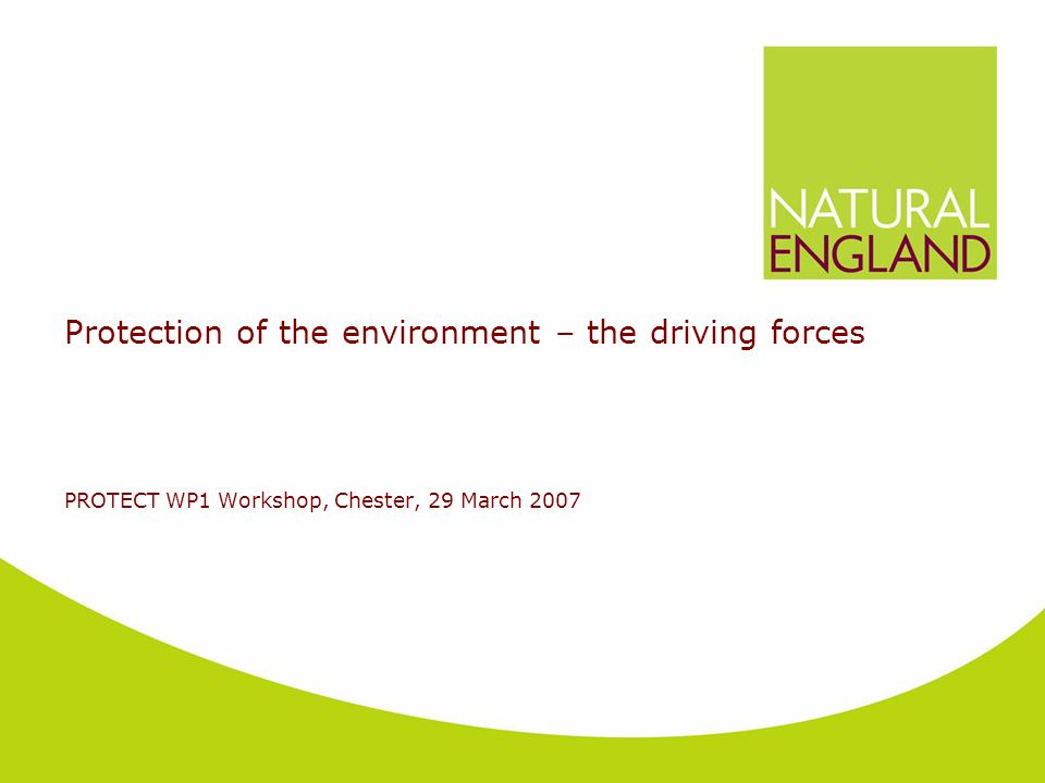 Protection of the environment – the driving forces PROTECT WP1 Workshop, Chester, 29 March 2007
