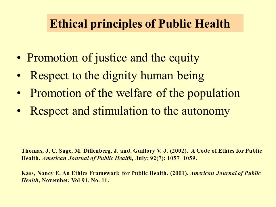 Promotion of justice and the equity Respect to the dignity human being Promotion of the welfare of the population Respect and stimulation to the autonomy Thomas, J.