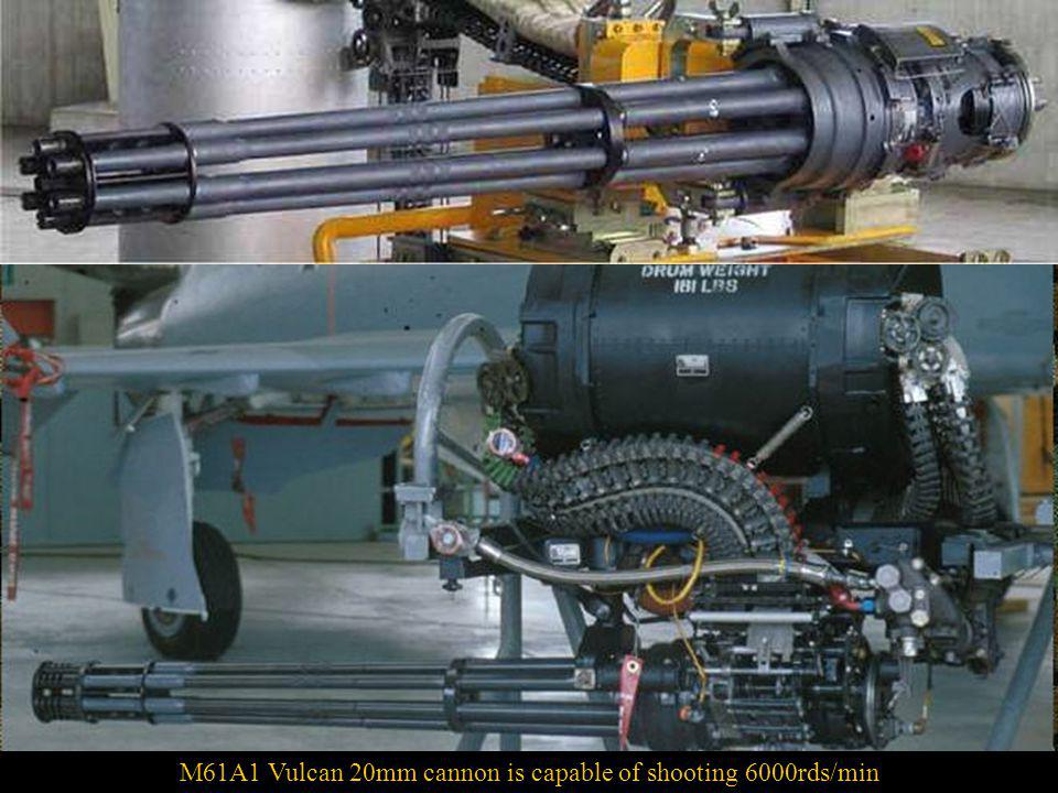 In the nose of the F/A-18 Hornet is an M61 Vulcan 20 mm cannon,a six-barreled, air-cooled, electrically fired Gatling-style gun with an extremely high rate of fire.