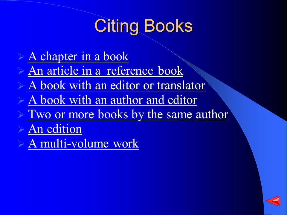 Citing Books A chapter in a book An article in a reference book A book with an editor or translator A book with an author and editor Two or more books by the same author An edition A multi-volume work