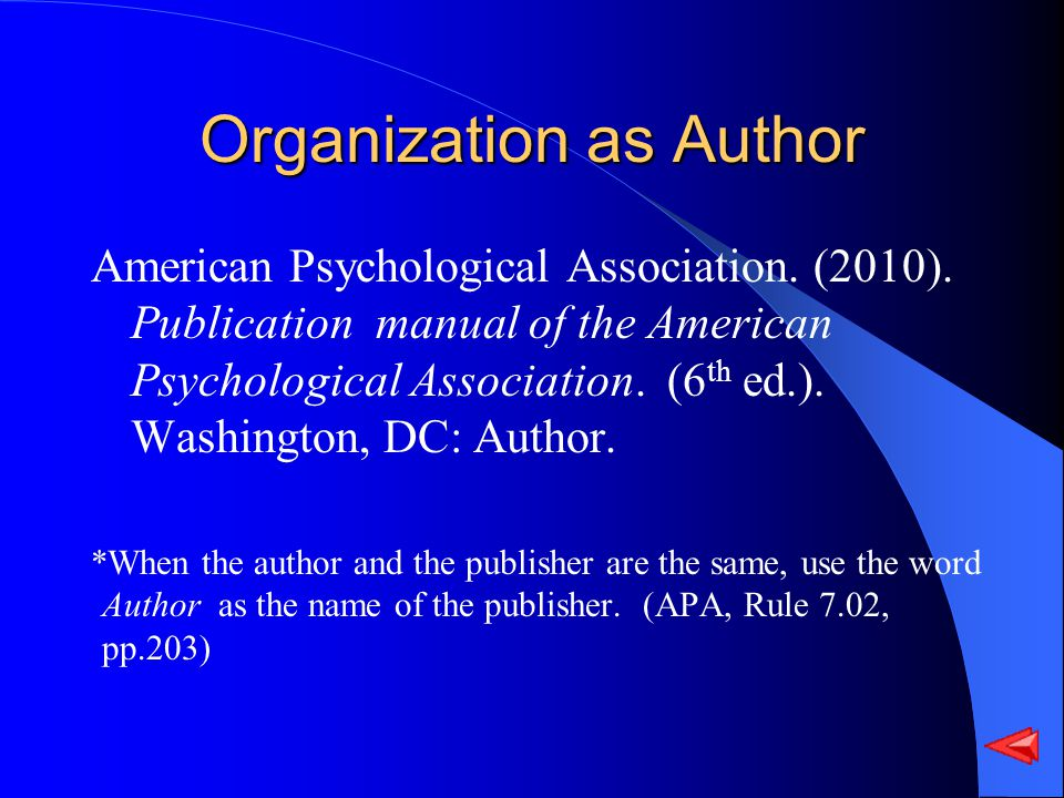 Organization as Author American Psychological Association.