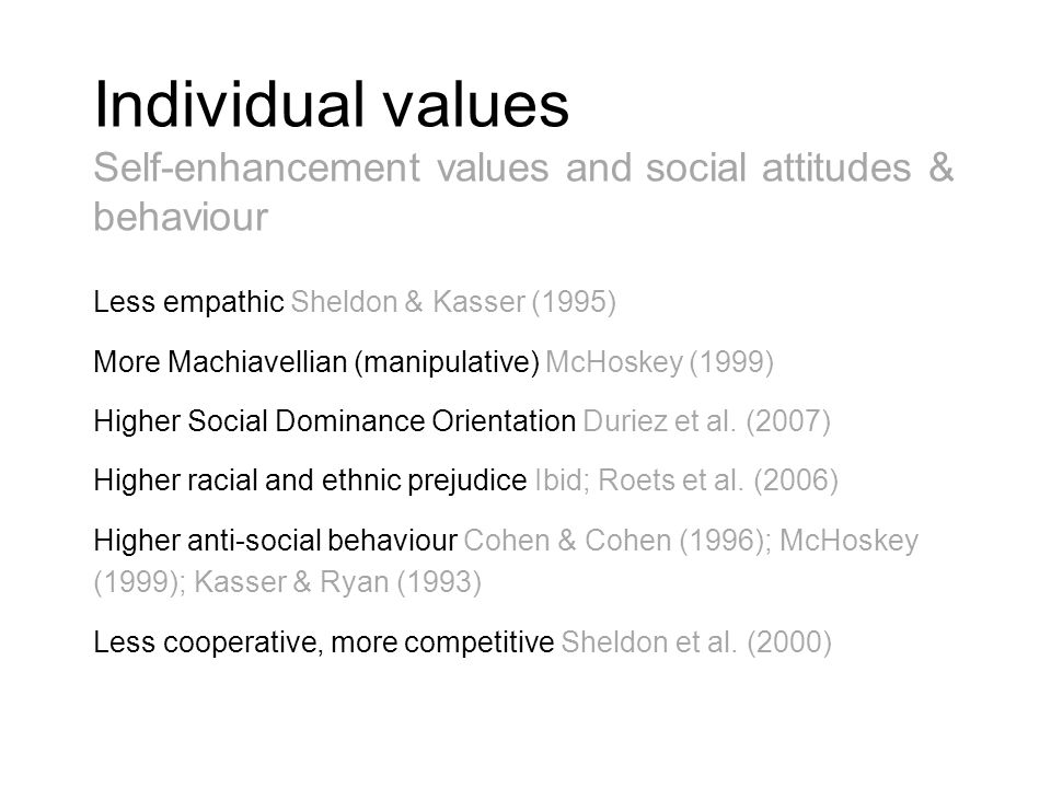 Individual values Self-enhancement values and social attitudes & behaviour.